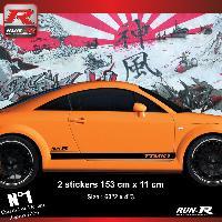 Adhesifs Audi 2 stickers bas de caisse 00CCN design compatible avec Audi TT MK1 - Noir