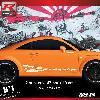 Adhesifs Audi 2 stickers bas de caisse 00CDB design pour Audi TT MK1 - Blanc Run-R Stickers