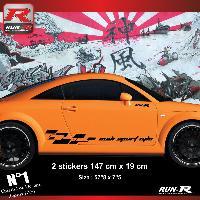 Adhesifs Audi 2 stickers bas de caisse 00CDN design compatible avec Audi TT MK1 - Noir