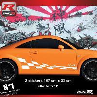 Adhesifs Audi 2 stickers bas de caisse 00CFB damier compatible avec Audi TT MK1 - Blanc