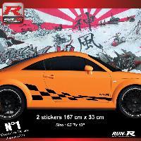 Adhesifs Audi 2 stickers bas de caisse 00CFN damier pour Audi TT MK1 - Noir Run-R Stickers