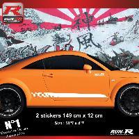 Adhesifs Audi 2 stickers bas de caisse 00CGB damier pour Audi TT MK1 - Blanc Run-R Stickers