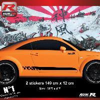 Adhesifs Audi 2 stickers bas de caisse 00CGN damier pour Audi TT MK1 - Noir Run-R Stickers