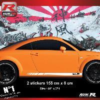 Adhesifs Audi 2 stickers bas de caisse 00CKB compatible avec Audi TT MK1 - Blanc