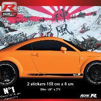 Adhesifs Audi 2 stickers bas de caisse 00CKN compatible avec Audi TT MK1 - Noir