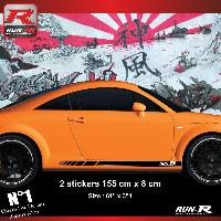 Adhesifs Audi 2 stickers bas de caisse 00CKN pour Audi TT MK1 - Noir Run-R Stickers