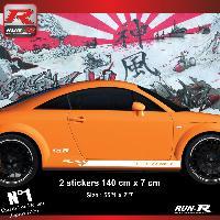 Adhesifs Audi 2 stickers bas de caisse 00CNB design compatible avec Audi TT MK1 - Blanc