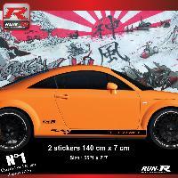Adhesifs Audi 2 stickers bas de caisse 00CNN design compatible avec Audi TT MK1 - Noir