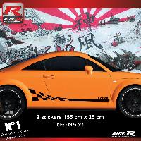 Adhesifs Audi 2 stickers bas de caisse style GT3RS compatible avec Audi TT MK1 - Noir