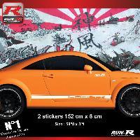 Adhesifs Audi 2 stickers bas de caisse style PORSCHE compatible avec Audi TT MK1 - Blanc