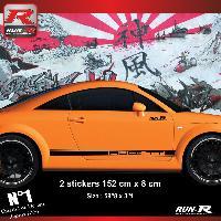 Adhesifs Audi 2 stickers bas de caisse style PORSCHE compatible avec Audi TT MK1 - Noir