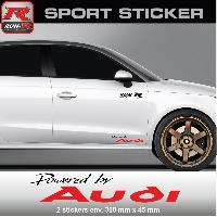Adhesifs Audi PW05 NR - Sticker Powered by AUDI - NOIR ROUGE - pour QUATTRO TT A1 A2 A3 S3 A4 S4 A5 S5 A6 S6 RS Run-R Stickers