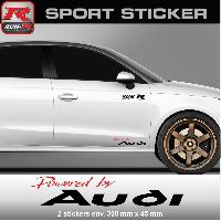 Adhesifs Audi PW05 RN - Sticker Powered by AUDI - ROUGE NOIR - pour QUATTRO TT A1 A2 A3 S3 A4 S4 A5 S5 A6 S6 RS Run-R Stickers