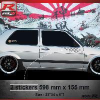 Adhesifs Auto Par Marque 000A Sticker FLAG compatible avec VOLKSWAGEN GOLF 2 - Argent