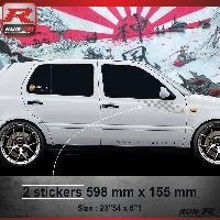 Adhesifs Auto Par Marque 000A Sticker FLAG pour VOLKSWAGEN GOLF 3 - Argent Run-R Stickers