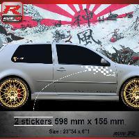 Adhesifs Auto Par Marque 000B Sticker FLAG pour VOLKSWAGEN GOLF 4 Blanc Run-R Stickers