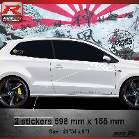 Adhesifs Auto Par Marque 000B Sticker FLAG pour VOLKSWAGEN POLO 6R Blanc Run-R Stickers
