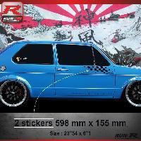 Adhesifs Auto Par Marque 000N Sticker FLAG compatible avec VOLKSWAGEN GOLF 1 Noir