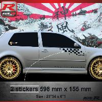 Adhesifs Auto Par Marque 000N Sticker FLAG compatible avec VOLKSWAGEN GOLF 4 Noir