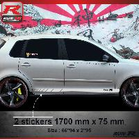 Adhesifs Auto Par Marque 009A Sticker RACING pour VOLKSWAGEN POLO 9N Argent Run-R Stickers
