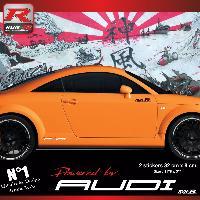 Adhesifs Auto Par Marque 00CO RB - 2 stickers bas de caisse Powered by Audi - Rouge blanc - pour TT MK1 Run-R Stickers