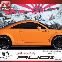 Adhesifs Auto Par Marque 00CO RN - 2 stickers bas de caisse Powered by Audi - NoirRouge - pour TT MK1 Run-R Stickers
