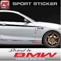 Adhesifs BMW PW06 NR - Sticker Powered by BMW - NOIR ROUGE - MOTORSPORT X3 X5 X1 M3 M4 M5 M1 M2 M6 Z3 Z4 Run-R Stickers