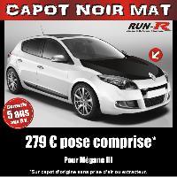 Adhesifs Capots CAPOT NOIR MAT pour MEGANE III Run-R Stickers