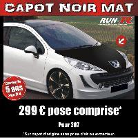 Adhesifs Capots CAPOT NOIR MAT pour PEUGEOT 207 Run-R Stickers