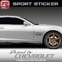 Adhesifs Chevrolet Sticker PW25NA Powered by CHEVROLET - NOIR ARGENT - Spark Aveo Cruze Camaro Trax Run-R Stickers