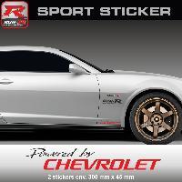 Adhesifs Chevrolet Sticker PW25NR Powered by CHEVROLET - NOIR ROUGE - pour Spark Aveo Cruze Camaro Maibu Trax Run-R Stickers