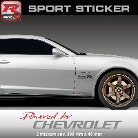 Adhesifs Chevrolet Sticker PW25RA Powered by CHEVROLET - ROUGE ARGENT - Spark Aveo Cruze Camaro Malibu Trax Run-R Stickers