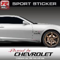 Adhesifs Chevrolet Sticker PW25RN Powered by CHEVROLET - ROUGE NOIR - Spark Aveo Cruze Camaro Malibu Trax Run-R Stickers