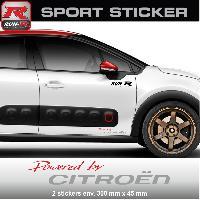 Adhesifs Citroen PW03RA Sticker Powered by CITROEN - ROUGE ARGENT - pour C1 C2 C3 DS3 C4 DS4 Saxo Run-R Stickers