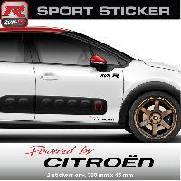 Adhesifs Citroen PW03RN Sticker Powered by CITROEN - ROUGE NOIR - pour C1 C2 C3 DS3 C4 DS4 Saxo Run-R Stickers
