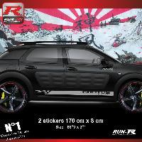 Adhesifs Citroen Sticker bas de caisse 00EIA pour CITROEN CACTUS Argent Racing Run-R Stickers