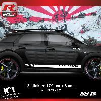 Adhesifs Citroen Sticker bas de caisse 00EIB pour CITROEN CACTUS - Blanc Racing Run-R Stickers