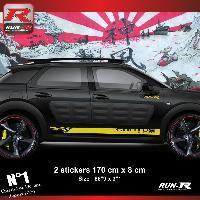 Adhesifs Citroen Sticker bas de caisse 00EIJ pour CITROEN CACTUS - Jaune Racing Run-R Stickers