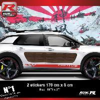 Adhesifs Citroen Sticker bas de caisse 00EIR pour CITROEN CACTUS - Rouge Racing Run-R Stickers