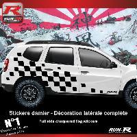 Adhesifs Dacia 000XND 2 stickers bas de caisse damier pour DACIA Duster - Noir Run-R Stickers