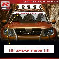 Adhesifs Dacia 1 sticker pare-soleil 00CUBR pour DACIA Duster - Blanc et Rouge Run-R Stickers
