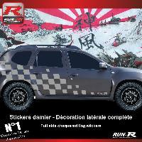 Adhesifs Dacia 2 stickers bas de caisse 000XA damier pour DACIA Duster - Argent Run-R Stickers