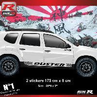 Adhesifs Dacia 2 stickers bas de caisse 00CSN pour DACIA Duster - Noir Run-R Stickers