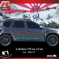 Adhesifs Dacia 2 stickers bas de caisse 00CSY pour DACIA Duster - Bleu Run-R Stickers