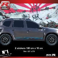 Adhesifs Dacia 2 stickers bas de caisse 00CTB pour DACIA Duster - Bleu Run-R Stickers