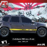 Adhesifs Dacia 2 stickers bas de caisse 00CWJ style PORSCHE pour DACIA Duster - Jaune Run-R Stickers