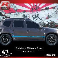 Adhesifs Dacia 2 stickers bas de caisse 00CWY style PORSCHE pour DACIA Duster - Bleu Run-R Stickers