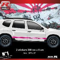 Adhesifs Dacia 2 stickers bas de caisse 00CWZ style PORSCHE pour DACIA Duster - Rose Run-R Stickers