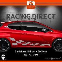 Adhesifs Dacia 2 stickers bas de caisse damier pour DACIA Duster - Argent Run-R Stickers