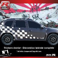 Adhesifs Dacia 2 stickers bas de caisse damier pour DACIA Duster - Blanc Run-R Stickers